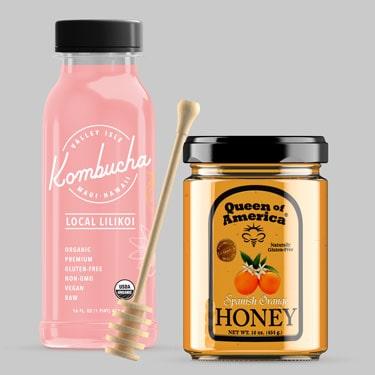 In decal trong suốt nhãn hàng mật ong