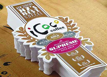 Mẫu decal cán màng bóng cho nhãn hàng Icoco Coffee