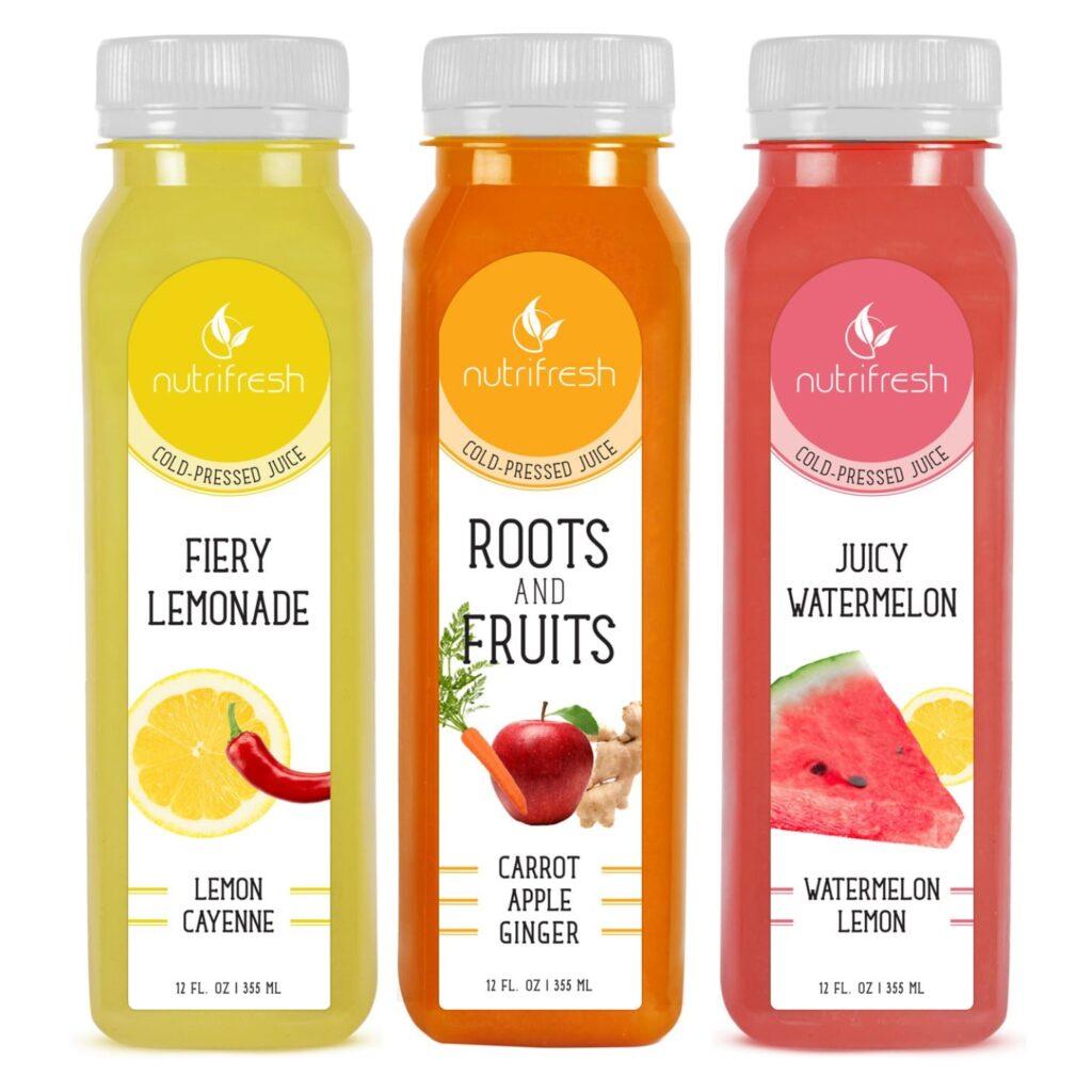 Mẫu decal nhãn hàng nước ép trái cây Nutrifresh