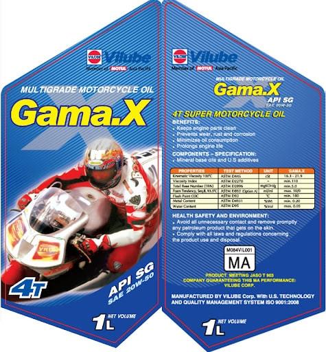 Mẫu decal cho nhãn hàng dầu nhớt Gama.X