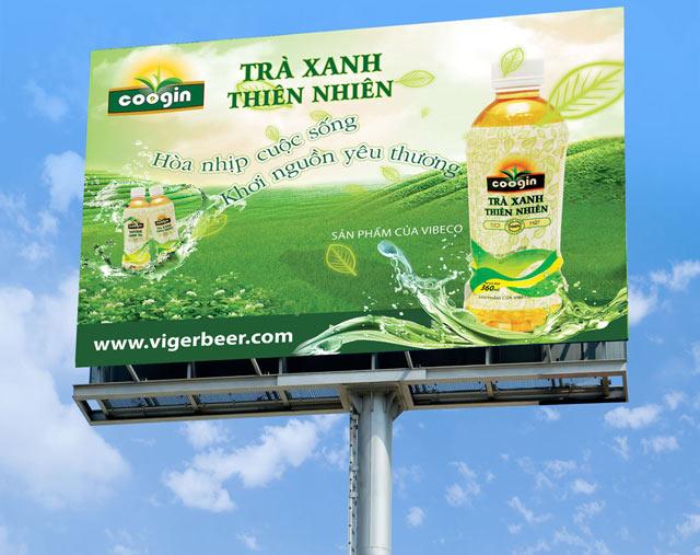 Mẫu decal poster quảng cáo Trà Xanh thiên nhiên