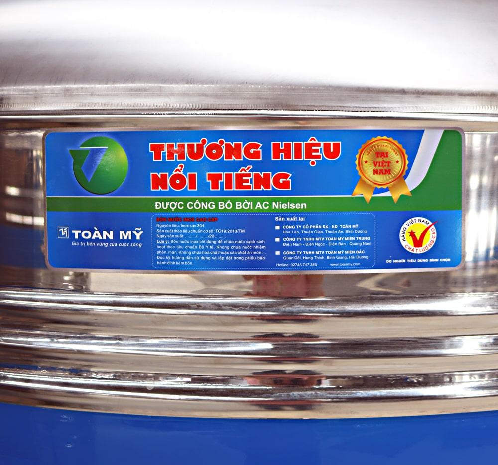 Mẫu decal dán bồn nước chống nắng nhãn hàng Toàn Mỹ
