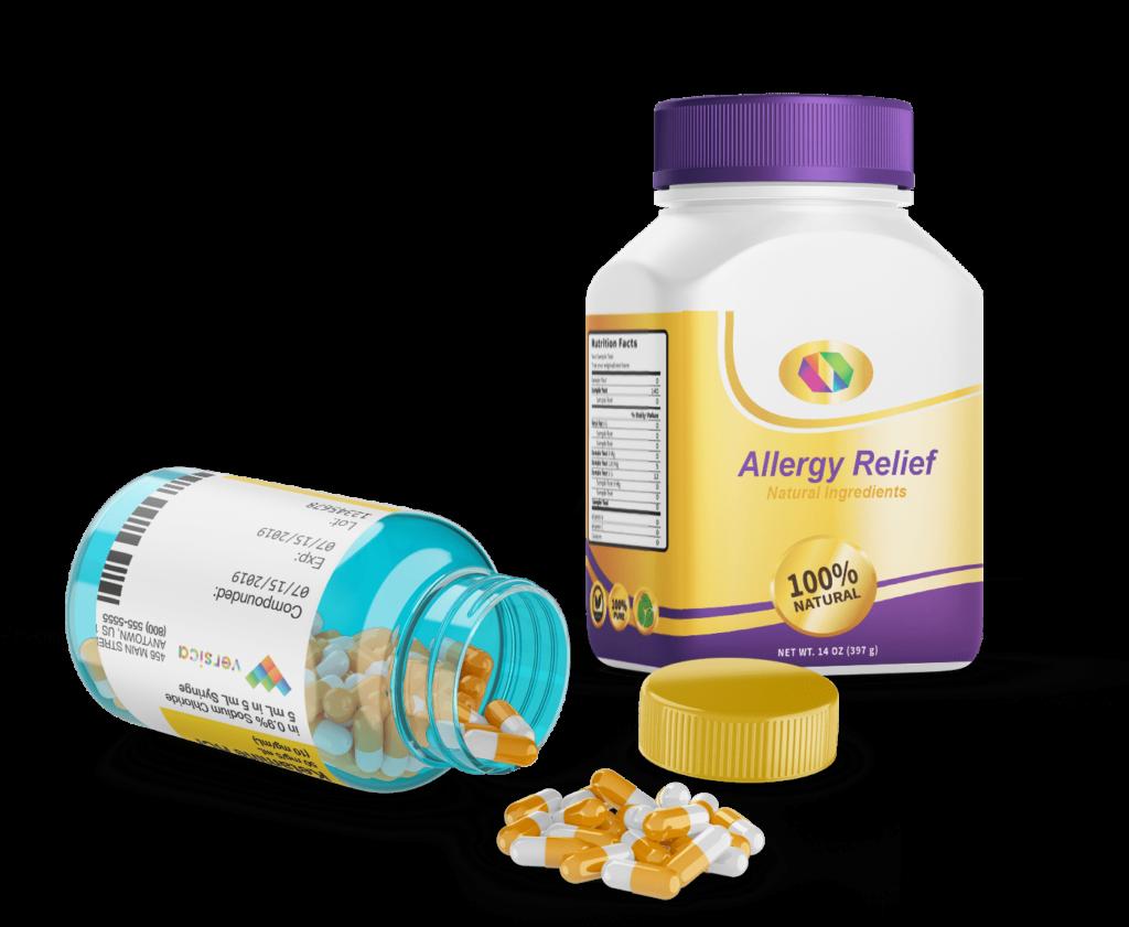 Mẫu decal nhãn hàng dược phẩm Allergy Relief