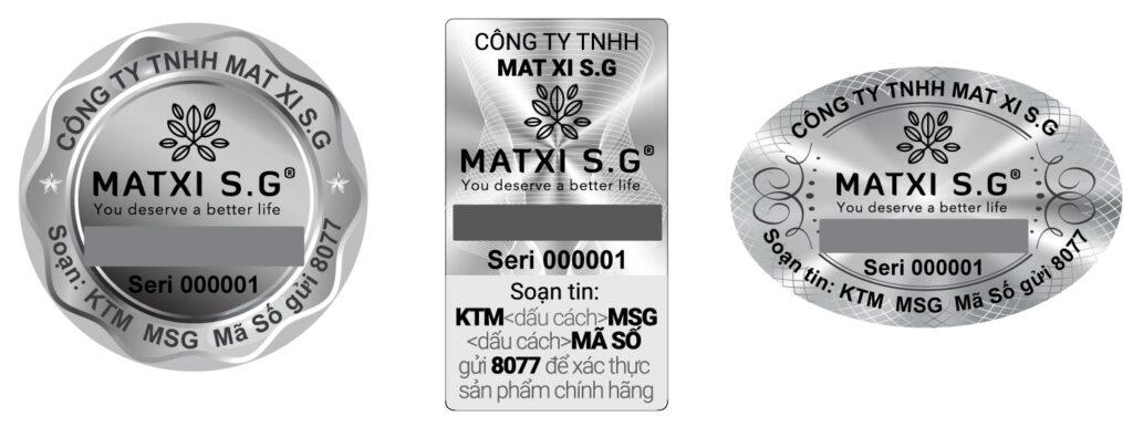 In logo dán chất liệu tem bạc thương hiệu MATXI S.G