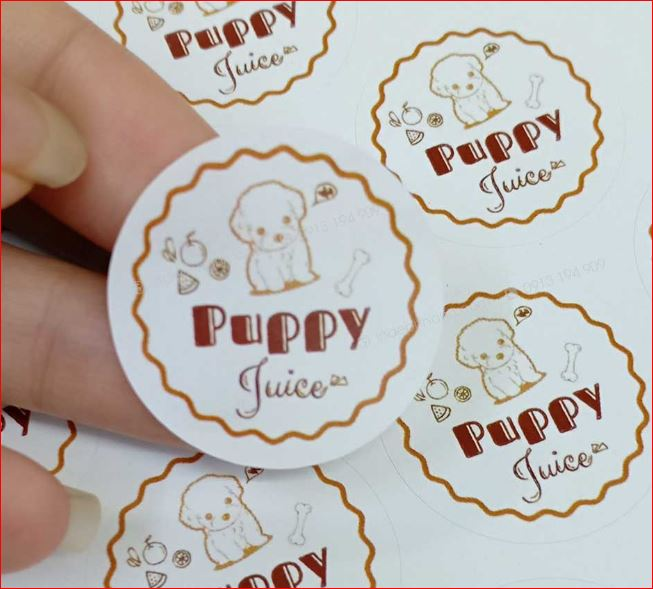In sticker lẻ nhãn hàng Puppy Juice