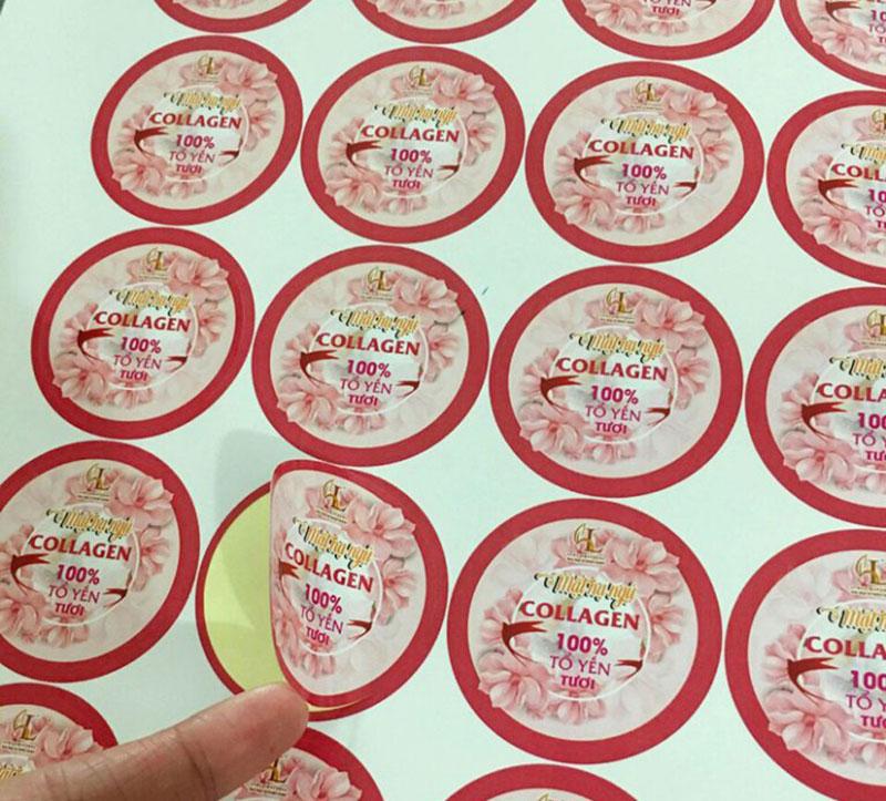 In sticker dán bằng giấy cho mỹ phẩm Collagen