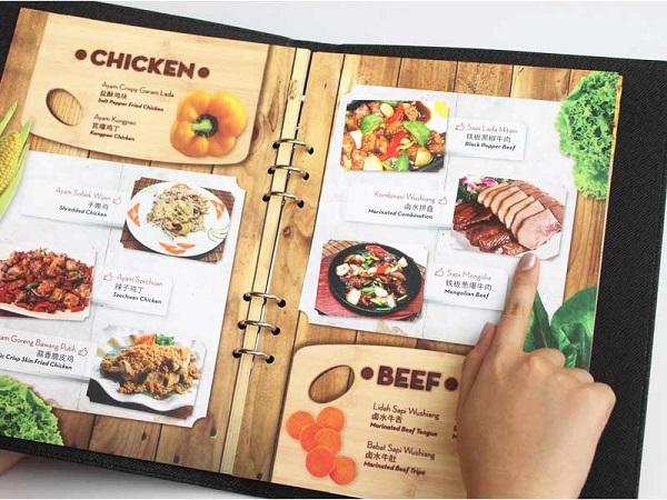 In menu, thực đơn nhà hàng giá rẻ, đẹp, sang trọng tại TPHCM